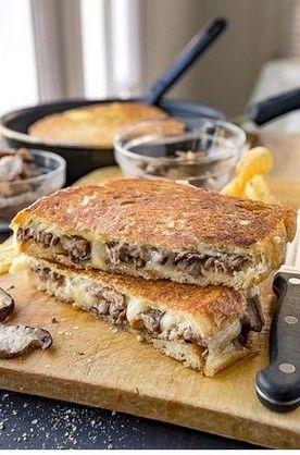Steak and Mushroom Grilled Cheese | Steak Recipes #grilledsteakmarinades