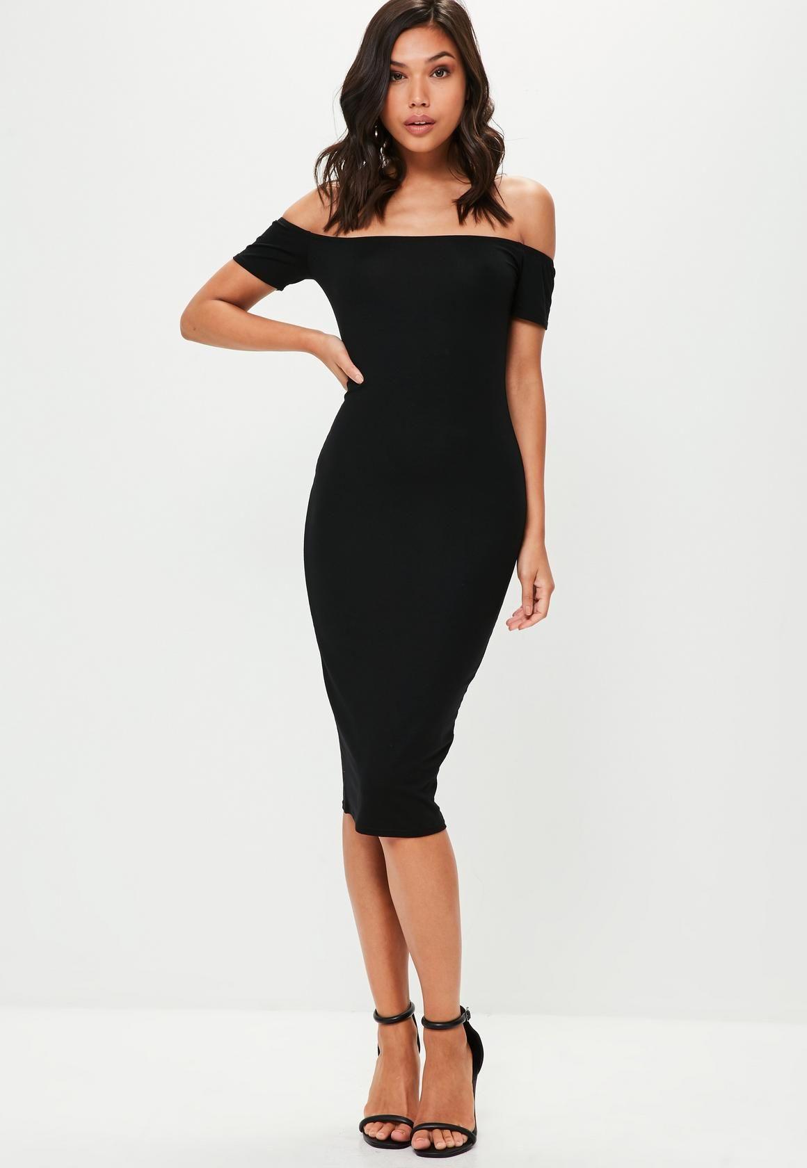 f65ffc243f9bd Missguided - Black Short Sleeve Bardot Bodycon Midi Dress | My Style ...
