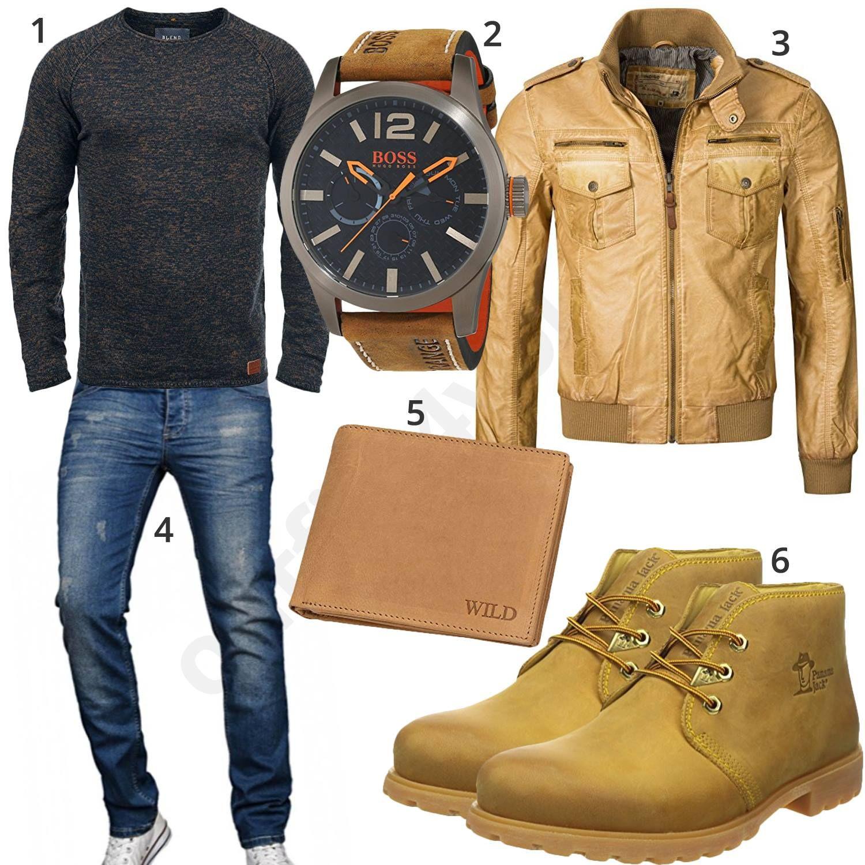 Beiges Herrenoutfit mit Lederjacke, Boots und Uhr
