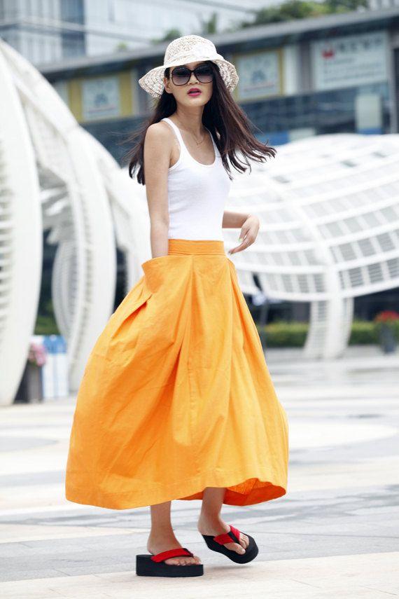Lagenlook Maxi Skirt Big Pockets Big Sweep Long Skirt in Golden Summer Linen Skirt - NC144 by Sophiaclothing on Etsy https://www.etsy.com/listing/152500690/lagenlook-maxi-skirt-big-pockets-big