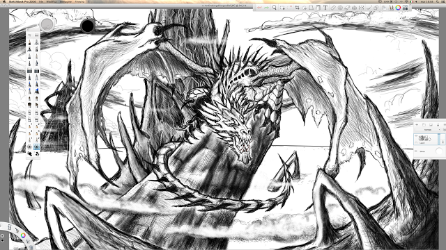 Enrico Sordi: Digital sketch of Dragon on a top of rock almost f...