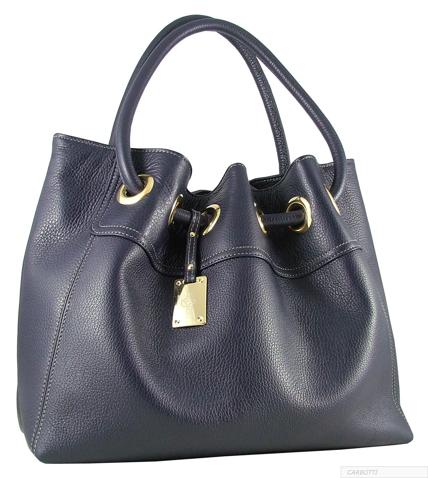 Blue Handbag In Italian Leather By Carbotti