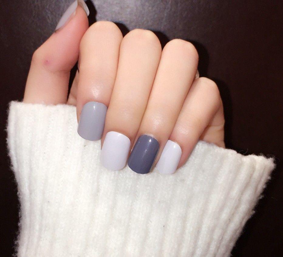 Attractive Grey Fake Nails Pattern - Nail Paint Ideas ...