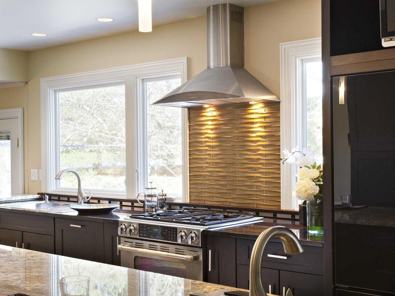 Basketweave Backsplash The Backsplash Should Be One Of The Main Focuses  When Remodeling Your Kitchen. HGTV Fan Cc_insidearch Used Curved Glass Tile  For A ...