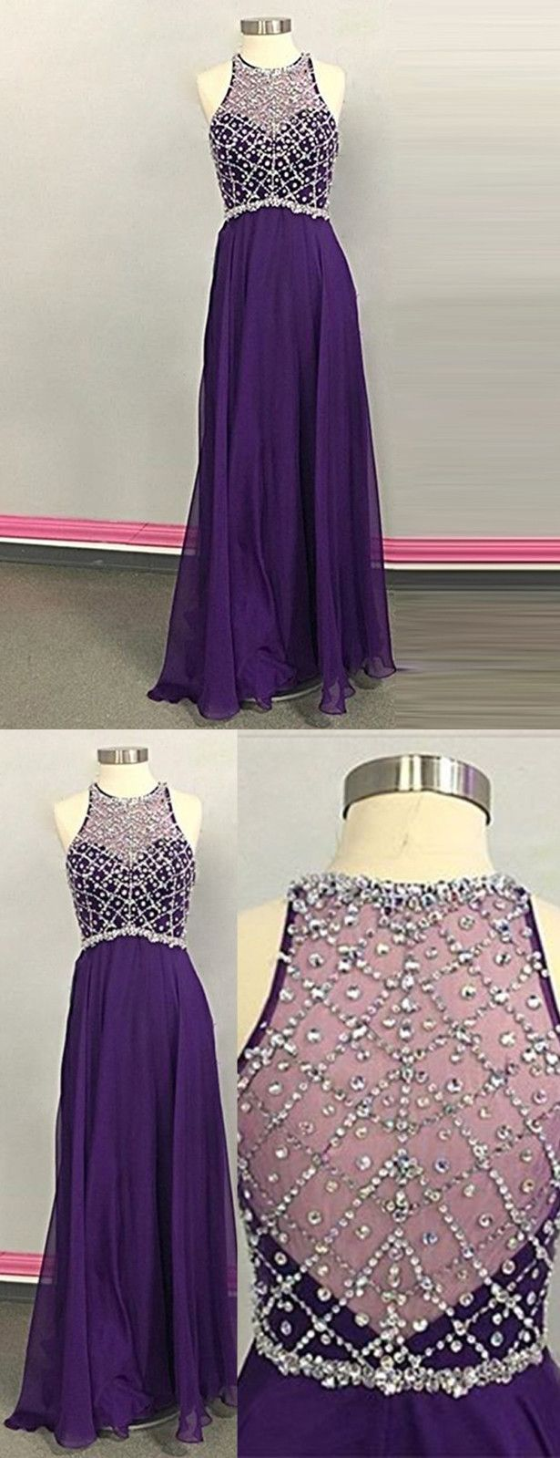 Aline jewel sleeveless illusion back long purple prom dress with