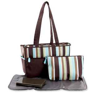 ... Pretty Baby - Microfiber Striped Tote Diaper Bag 99fd71465226b