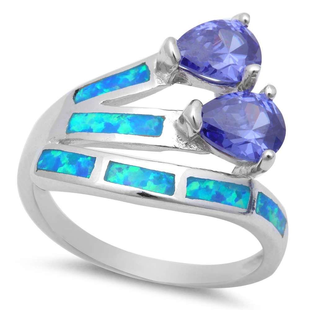 New Design Two Stone Pear Cut Blue Sapphire CZ Teardrop Ring Pear Shape 1CT Pear Shape Blue Sapphire Solid 925 Sterling Silver Lab Blue Opal