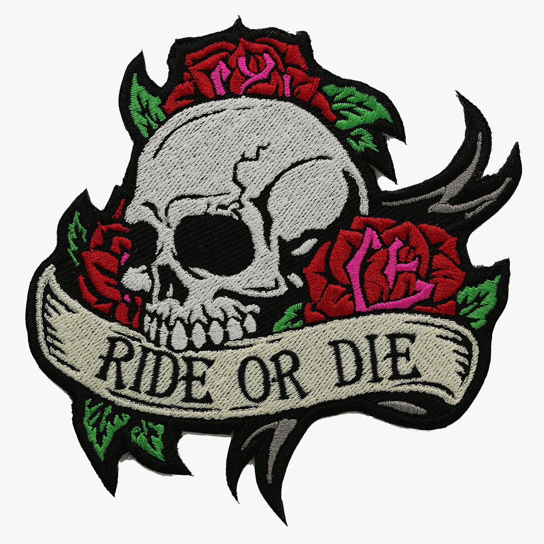 Ride or Die Skull with Roses BIKER Ride or die tattoo
