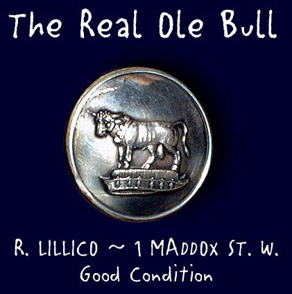 Image Copyright by RC Larner ~ Nice Antique Livery Bull Button ~ R C Larner Buttons at eBay & Etsy      http://stores.ebay.com/RC-LARNER-BUTTONS and https://www.etsy.com/shop/rclarner