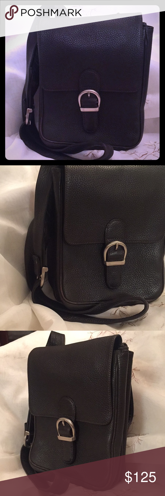 Vintage Ed Bauer Crossbody Bag Double Sided Authentic Leather Nice For