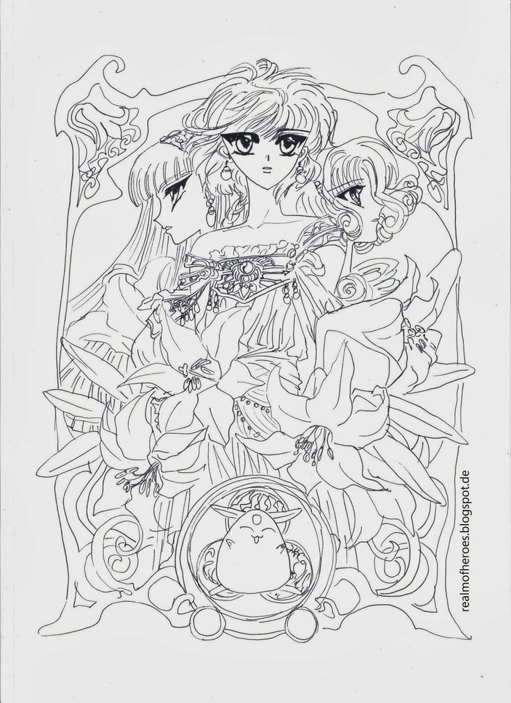 Art From Magic Knight Rayearth Series By Manga Artist Group Clamp Description From Pinterest Com I Sear Coloring Pages Magic Knight Rayearth Coloring Books