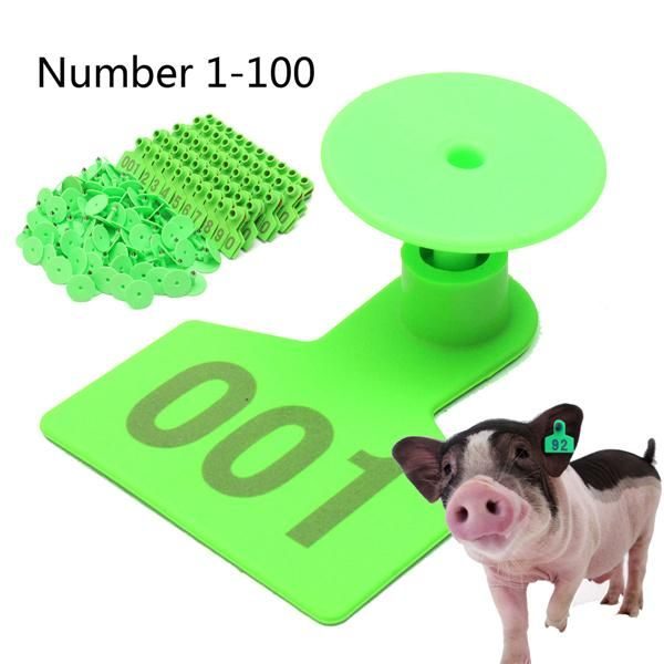 Green Plastic 1100 Number Animal Livestock Ear Tag For