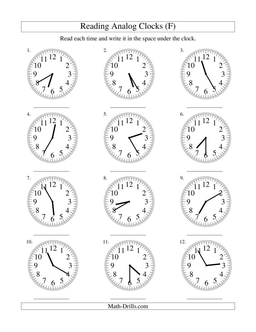 The Reading Time On An Analog Clock In 5 Minute Intervals F Math Worksheet In 2020 Time Worksheets Telling Time Worksheets Clock Worksheets