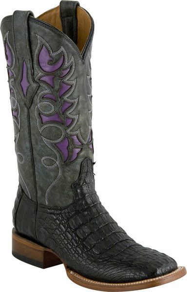 6ad339147f4 Lucchese M3812 Womens Black and Purple Hornback Caiman Crocodile ...