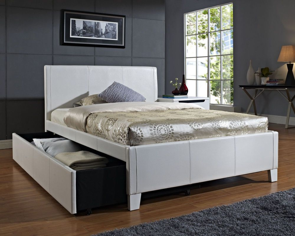 White Twin Trundle Bed Upholstered Headboard Frame Dorm Bedroom