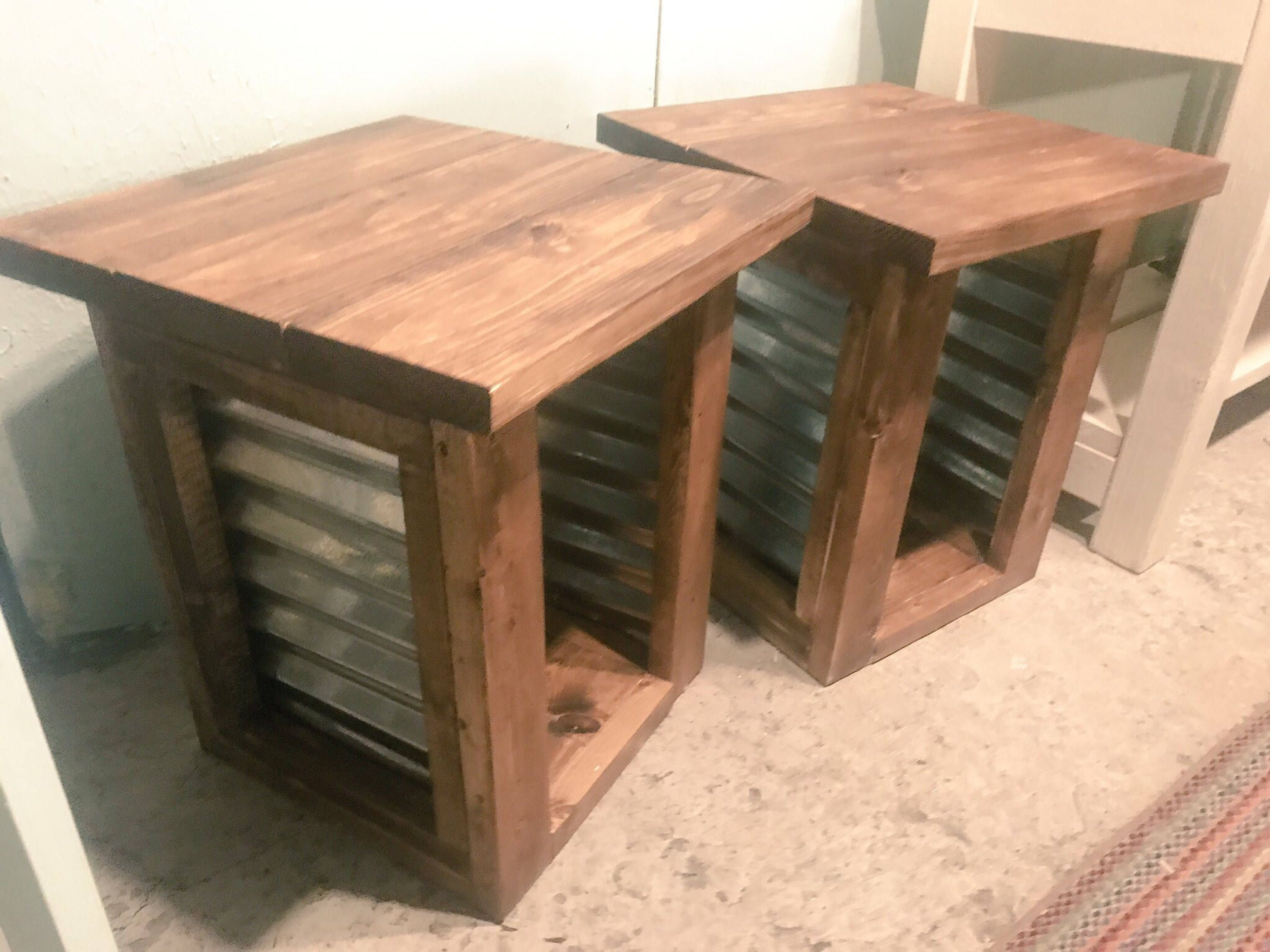 Farmhouse Style End Tables, Tin Accent End Tables, Provincial Brown Rustic  Side Tables,