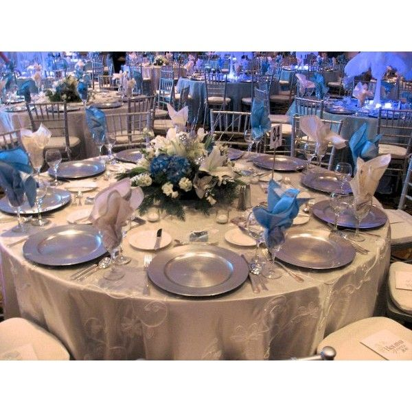 Winter Blue Silver White Centerpiece Centerpieces Indoor Reception Place Settings Wedding Photos Pictures