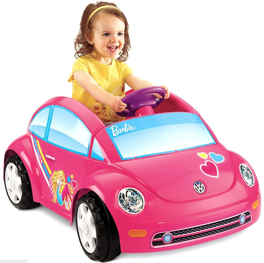 power wheels barbie volkswagen beetle girls kids drive ride on toy battery pink