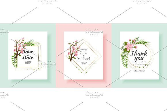 Set Of Sakura Flowers Wedding Invitation Card Template Floral Wedding Invitation Card Wedding Invitation Cards