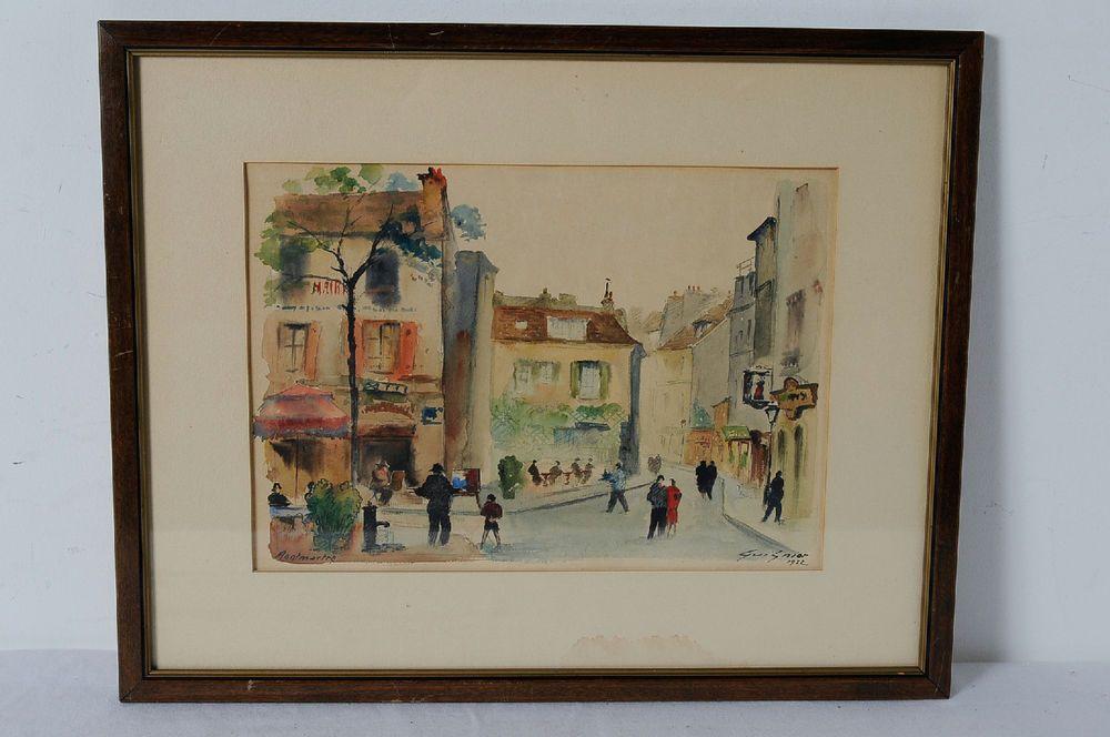 Cityscape French 1952 Montmartre Paris Painting Signed Fernand Gaston Goignier