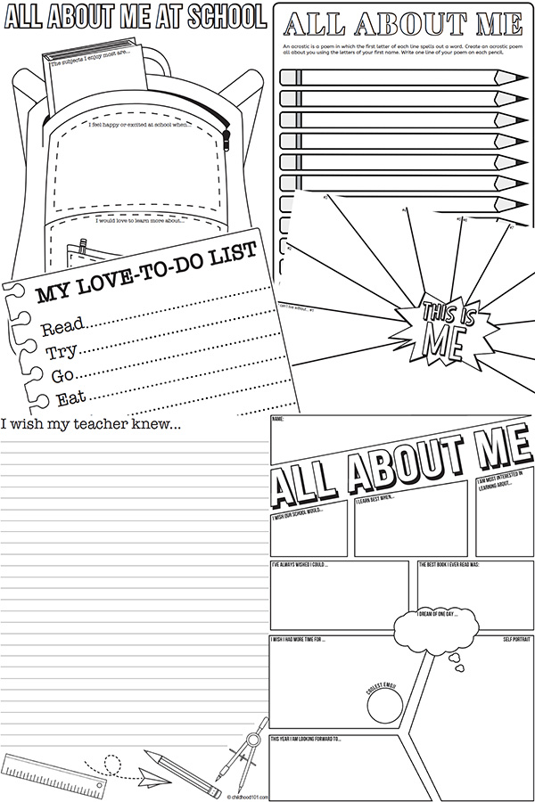 All About Me Creative Drawing & Writing Prompts for Back
