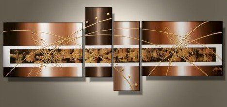 "4 Piece Wall Art wieco art 4-piece ""brown clouds"" hand-painted modern abstract oil"