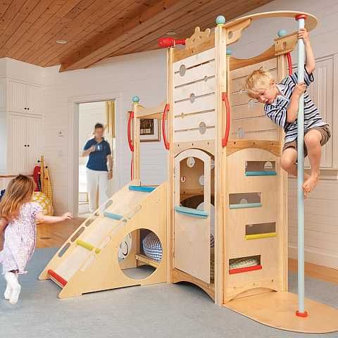 Indoor playset with climbing wall, fire pole, ladder, and more ...