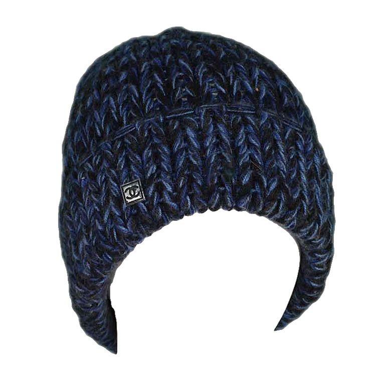 CHANEL Blue Black Chunky Cashmere Knit Beanie Hat  e18cb2e18c7