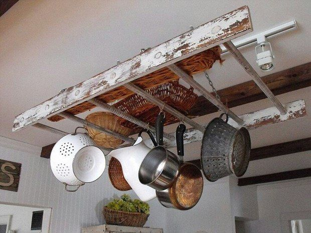 Upcycled Ladder Shelves And Creative Display Ideas Upcycle Ladder Rustic Kitchen Shabby Chic Kitchen
