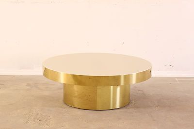 Amazing Mid Century Modern Pace Collection Brass Round Coffee Table Lucite  Top | EBay
