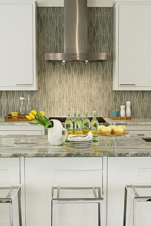Kitchen With Gray Diamond Tile Backsplash Cottage