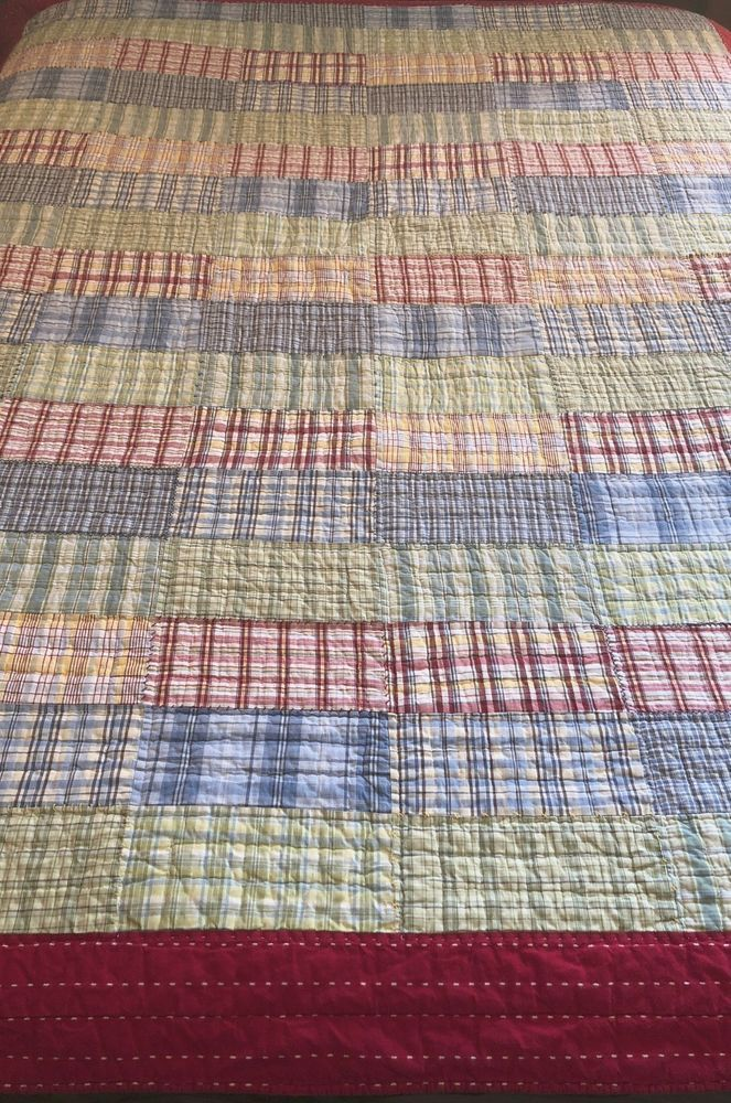 "POTTERY BARN KIDS PATCHWORK QUILT~PLAIDS~TWIN 67"" Wx 85""L ..."