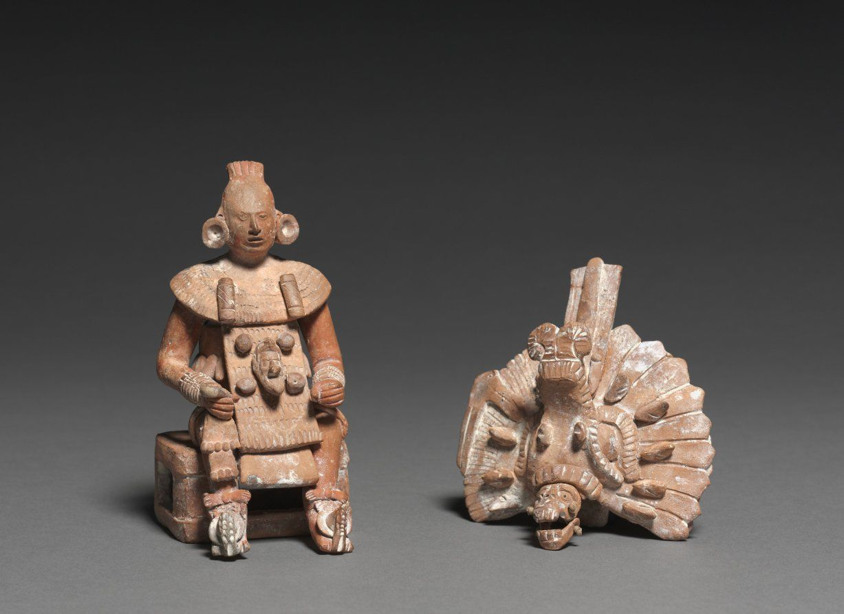 Seated Lord With Removable Headdress Ancient Figures Masks And Plaques Art Mexican