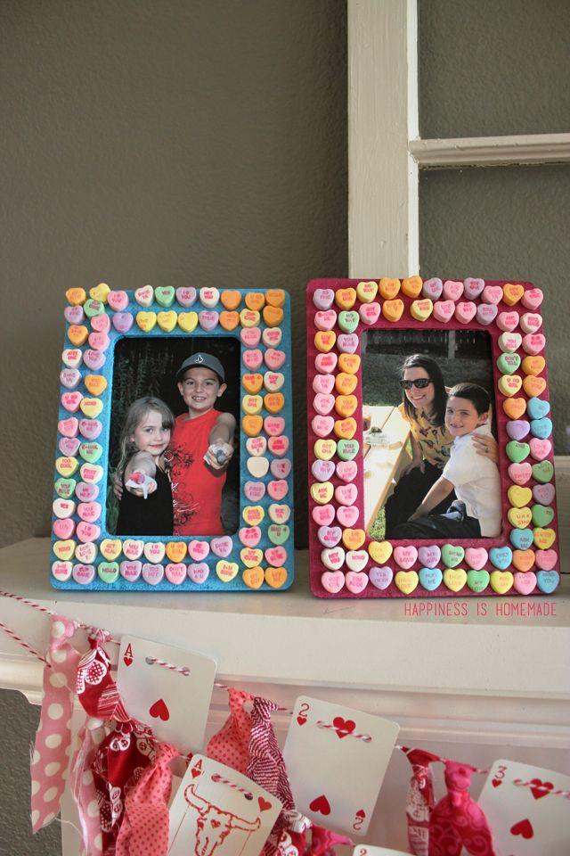 Conversation Heart Valentines Day Picture Frames Kids Craft Kid Stuff Pinterest Valentine