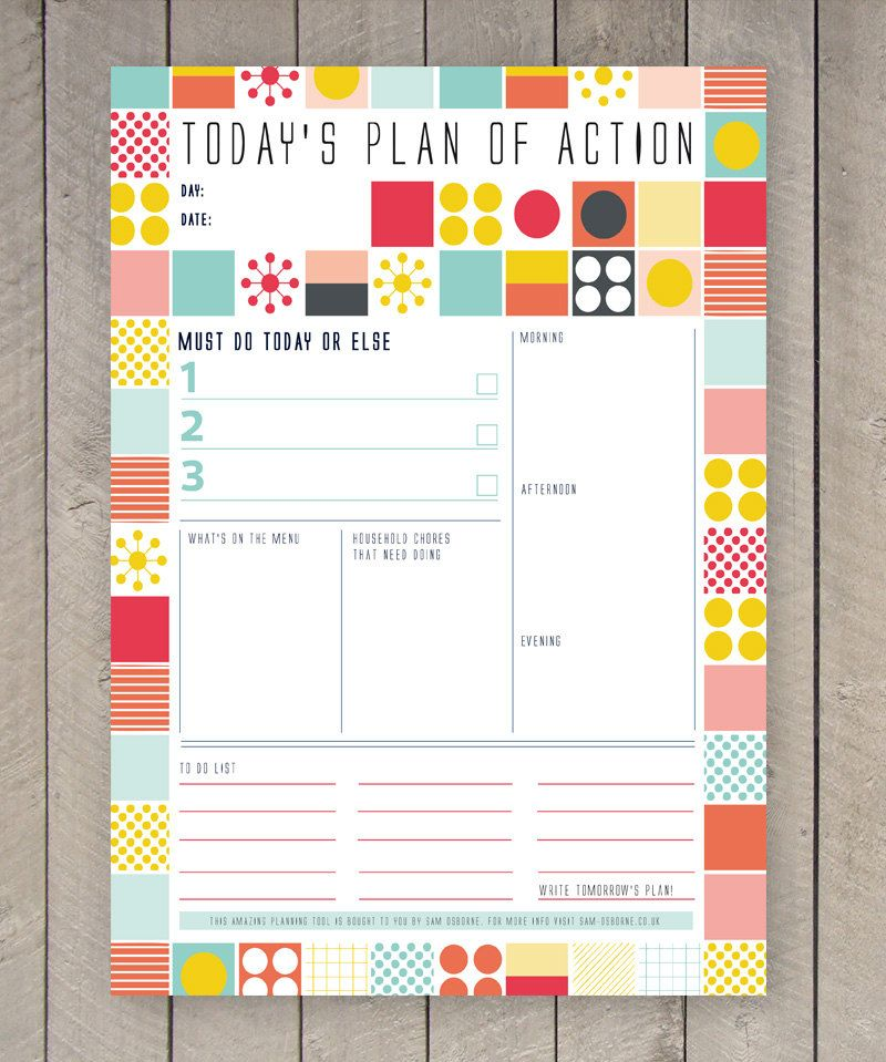 Printable Day Planner Family Organiser Mid Century Colourful Grid