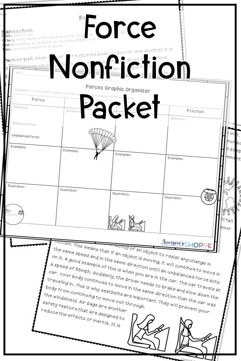 Force Nonfiction Article Graphic Organizer and Hands on