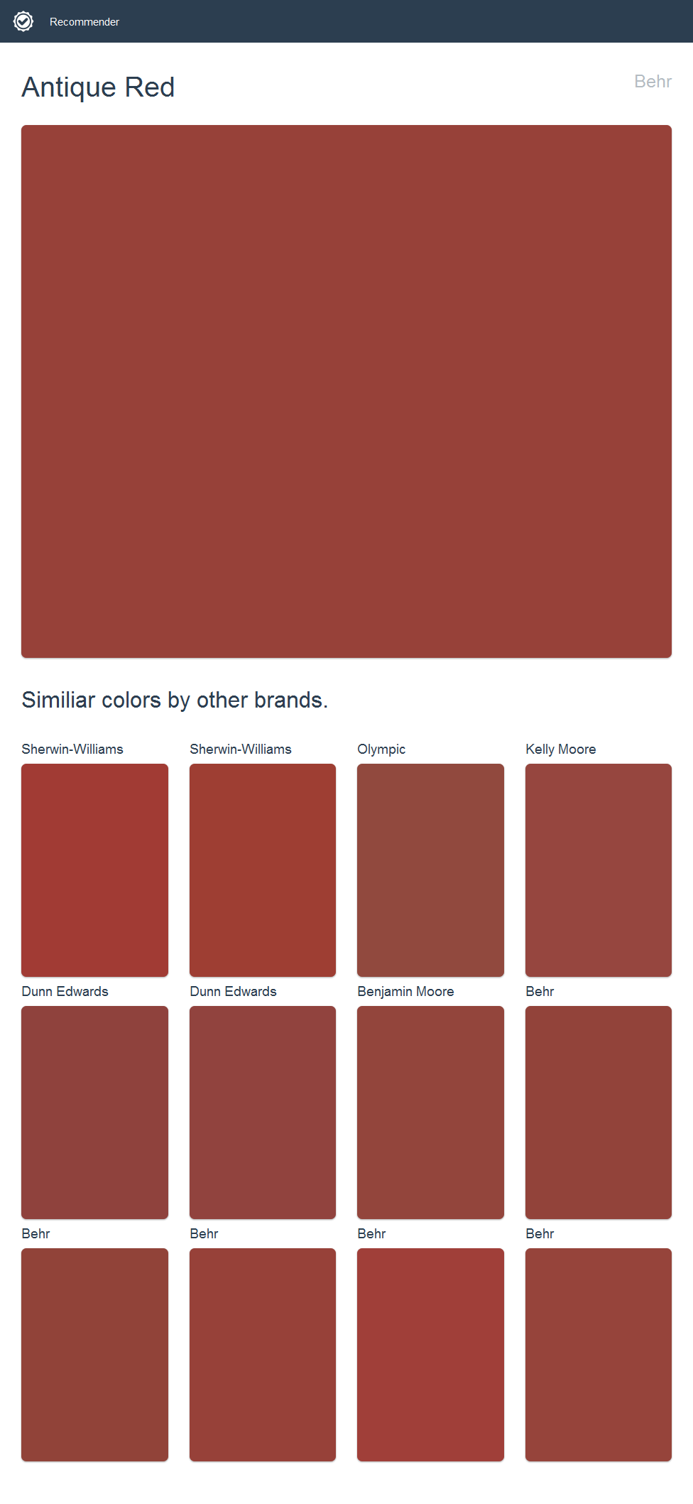 Antique Red Behr Click The Image To See Similiar Colors By Other Brands