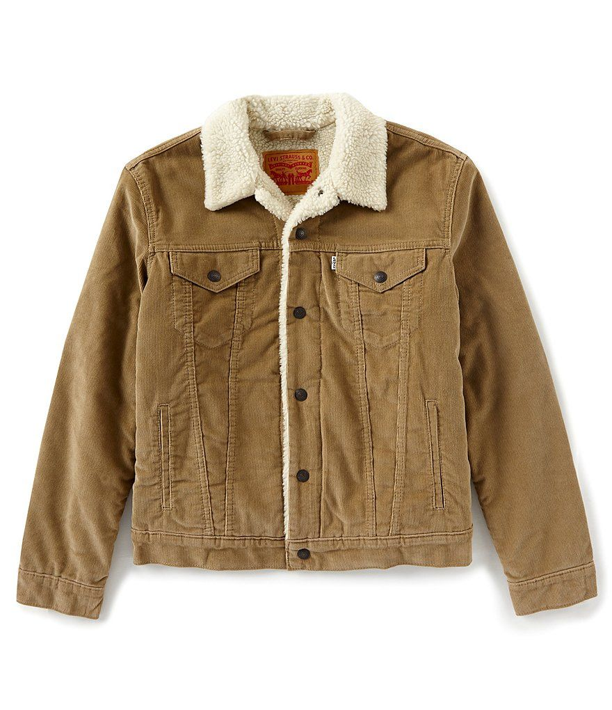 Levi's Mens Corduroy Sherpa Trucker Jacket, Thorn, Small at