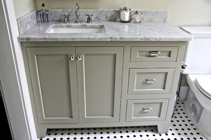 Beautiful Gray Green Bathroom Design With Cabinets White Carrara Marble Counter Top Polished Nickel Hardware Black Floors And