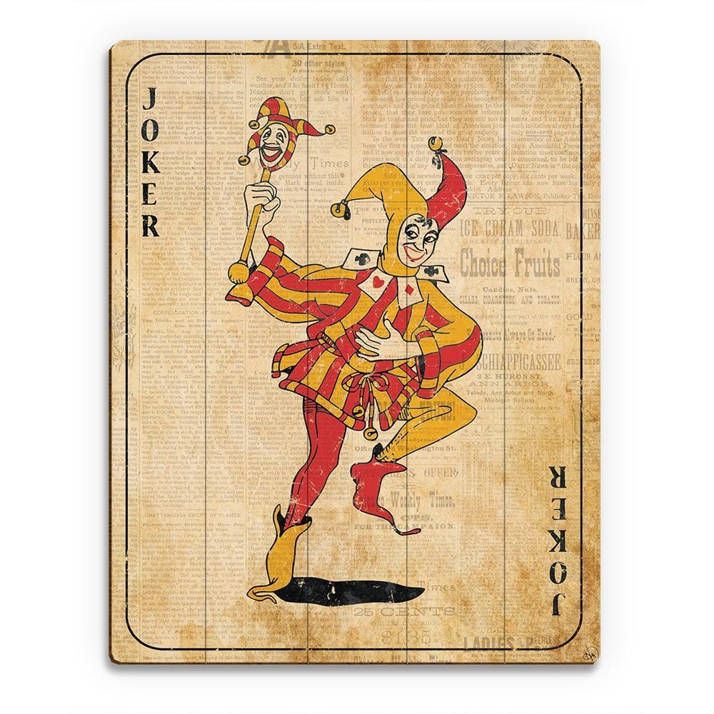 Vintage Joker Playing Card Wall Art Print on Wood | Products ...