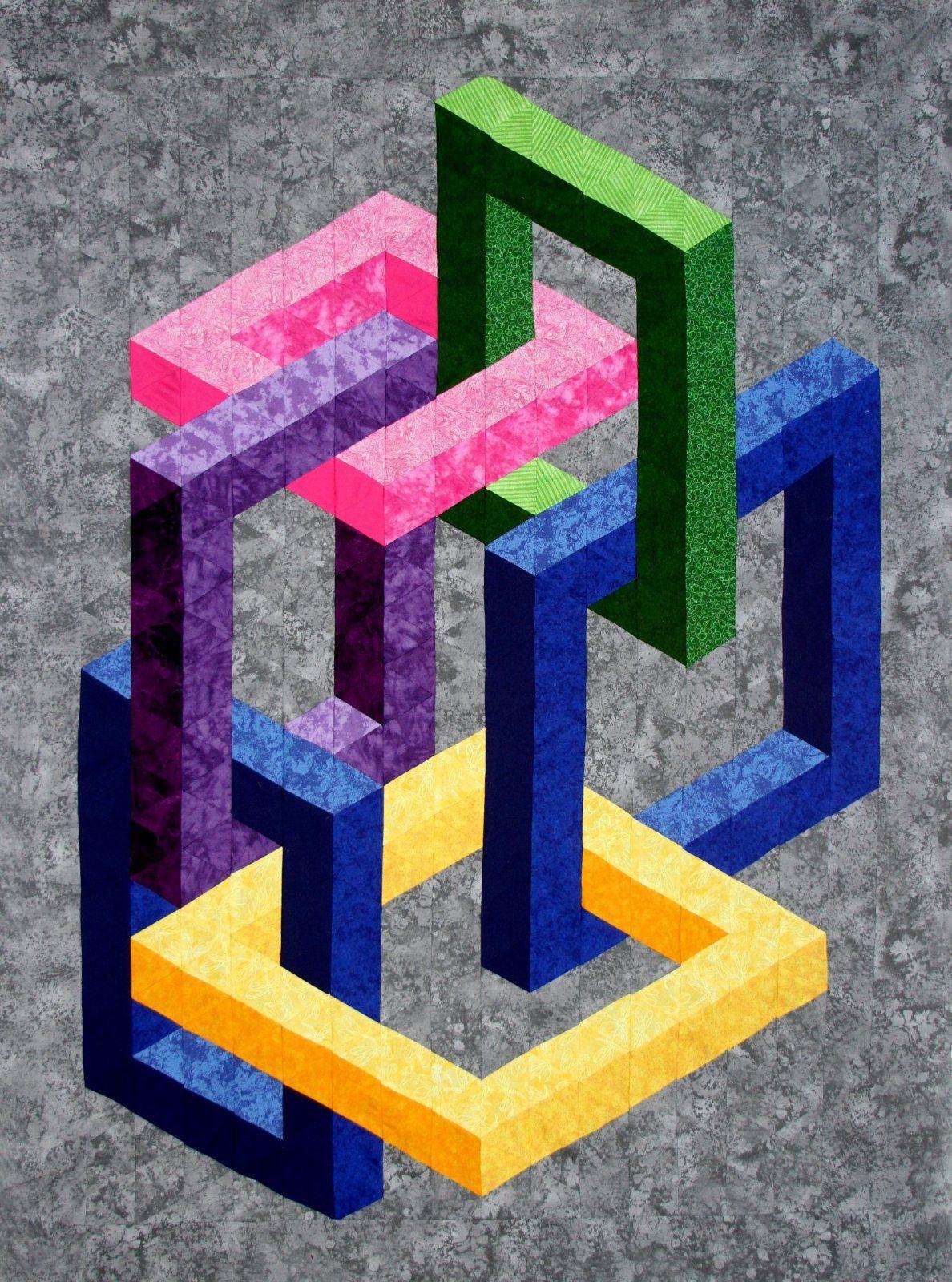 linked kit illusion quilt pinterest quilten n hen und patchwork. Black Bedroom Furniture Sets. Home Design Ideas