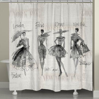 Laural Home Fashion Sketchbook Shower Curtain In Black Beige
