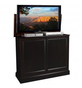 carousel espresso tv lift cabinet by