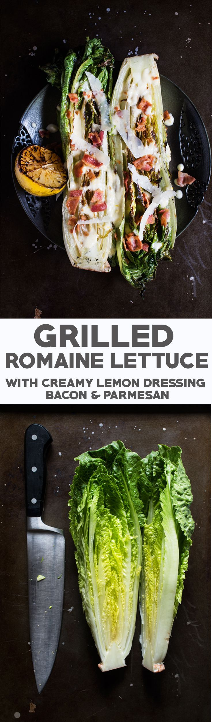 Char grilled romaine hearts, tangy dressing, crispy bacon, and nutty parmesan cheese.