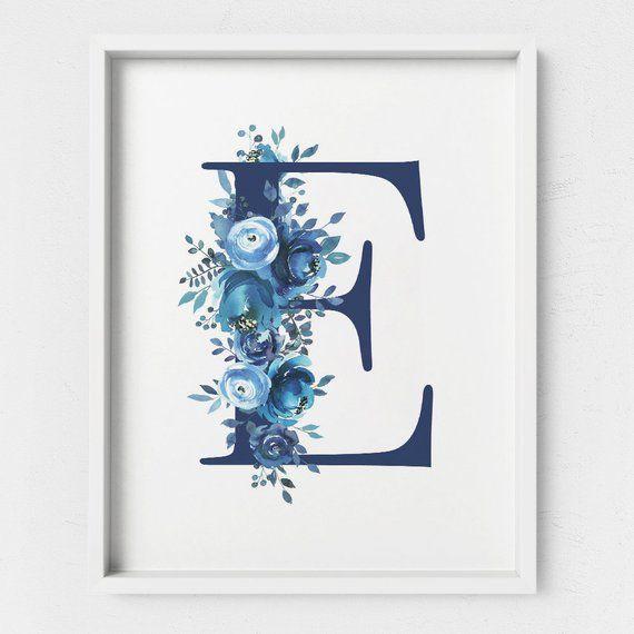 Letter E Monogram, Printable Letter, Floral Letter, Blue Floral