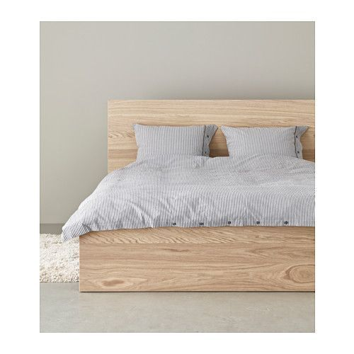IKEA MALM Bed frame, high White stained oak veneer/lury Standard Double  Real wood veneer will make this bed age gracefully.