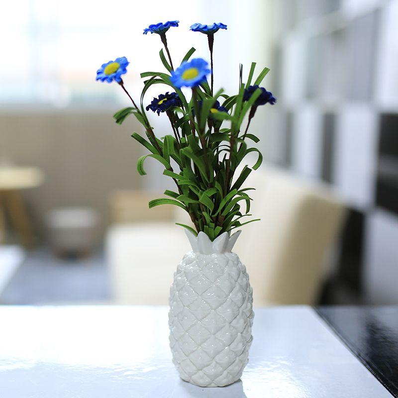 >> Click to Buy << DIY ceramic pineapple white porcelain glazed small vase modern home decor creative handmade flower vase ornament on office table #Affiliate