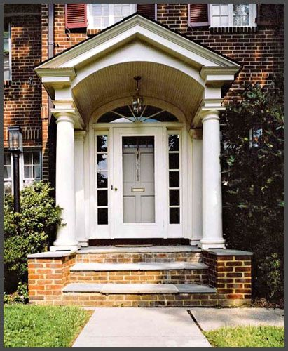 Front Home Entrance For German House Architecture: Classic Federal Home Design GRAND Entrances Covered