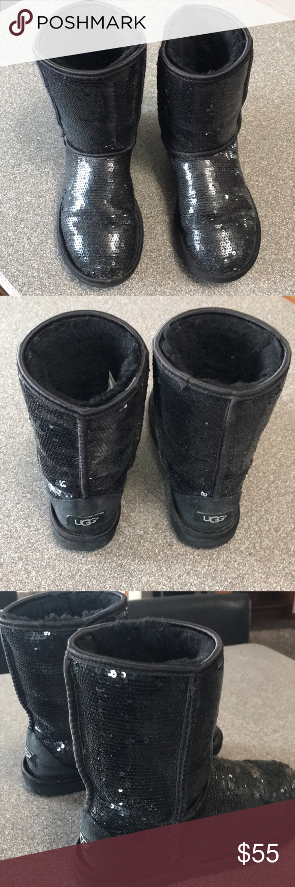 Girls sequence black uggs boot Black ugg boots- still have a lot of life left in them. UGG Shoes Boots #uggbootsoutfitblackgirl