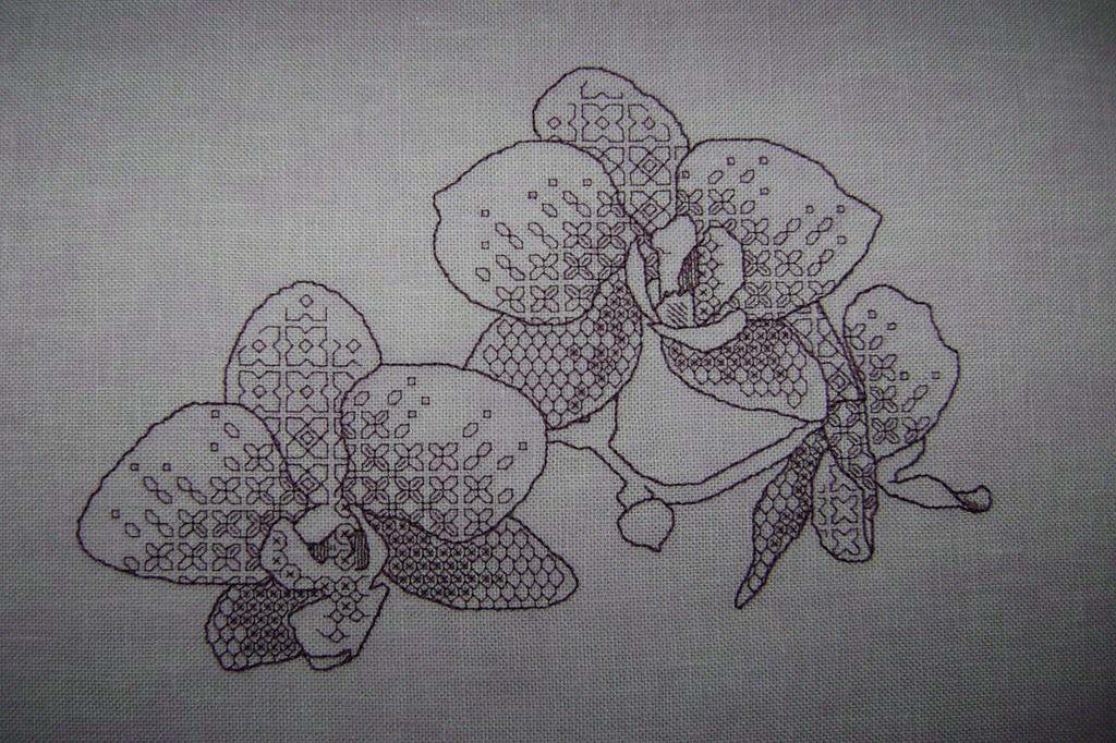 Orchids, Ajisai Press #blackwork pattern stitched by Marusya, using purple thread